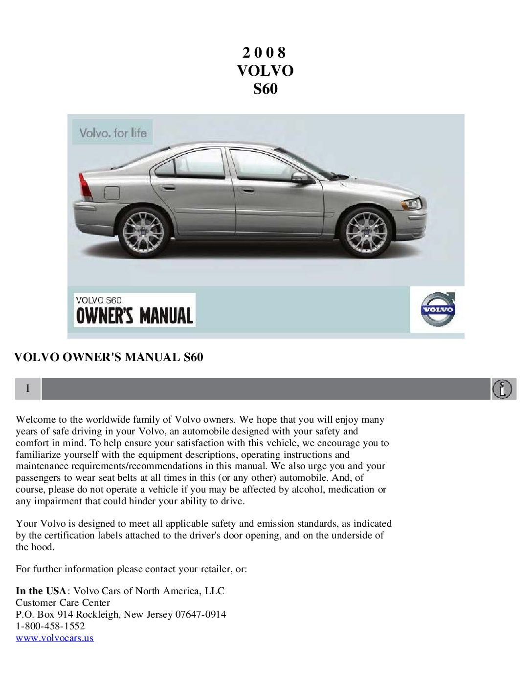 2016 volvo s60 owners manual