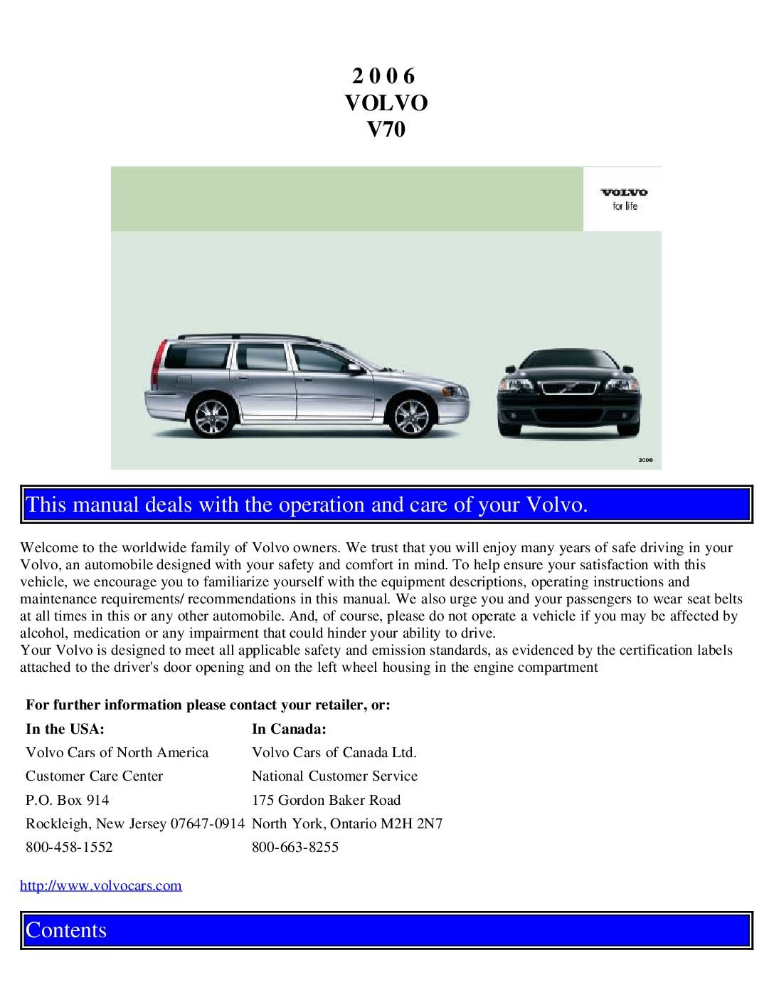 2002 volvo v70 owners manual