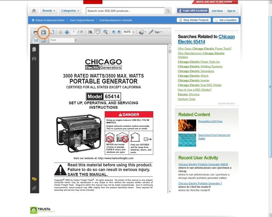 chicago electric generator owners manual